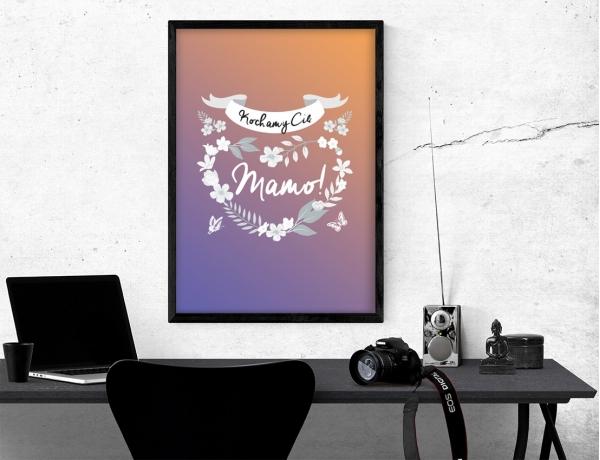 Plakat lub obraz - Wianuszek kwiatów wokół mamy