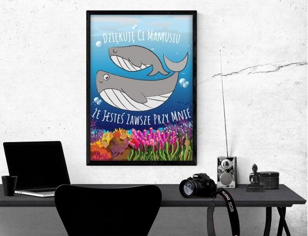 Plakat lub obraz - Sympatyczny wieloryb z mamą