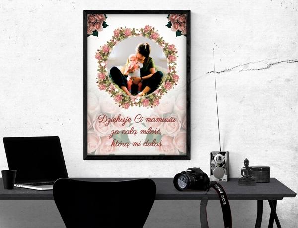 Plakat lub obraz - Podziękowania dla mamy z różami w tle
