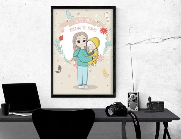 Plakat lub obraz - Rysunkowy motyw mamy z dzieckiem