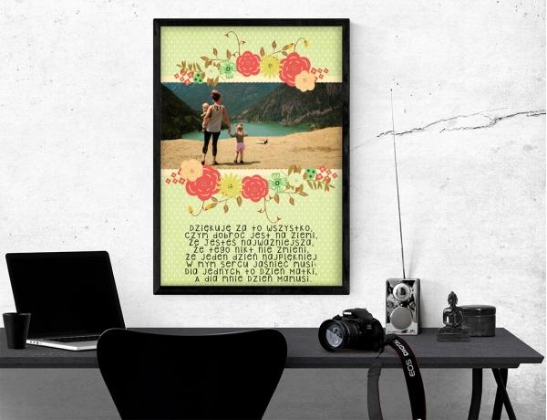 Plakat lub obraz - Podziękowanie dla mamy z rysunkowymi kwiatami
