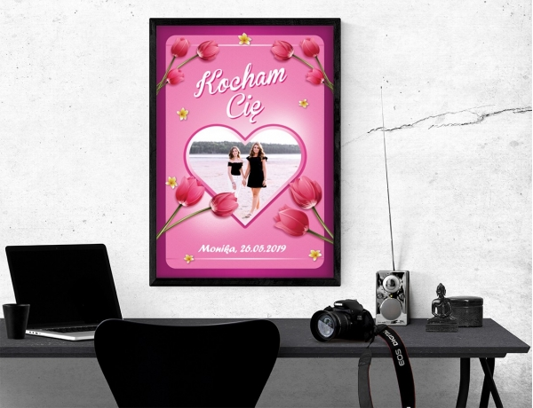 Plakat lub obraz - Serce wśród kwiatów