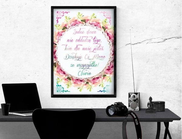 Plakat lub obraz - Kocham Cię mamo, aż brak słów