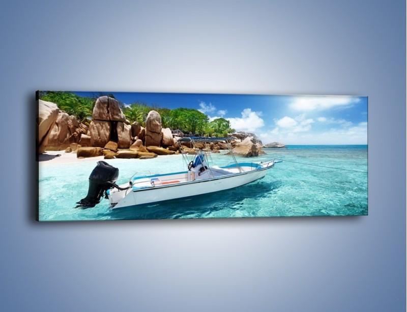 Obraz na płótnie – Błękit w wodzie i niebie – jednoczęściowy panoramiczny KN852