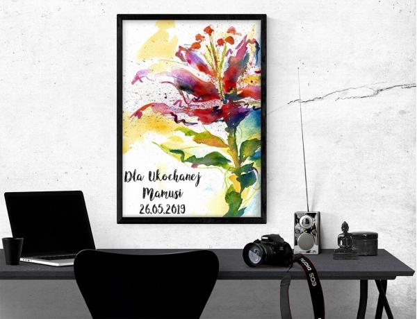 Plakat lub obraz - Malowany kwiat dla mamy