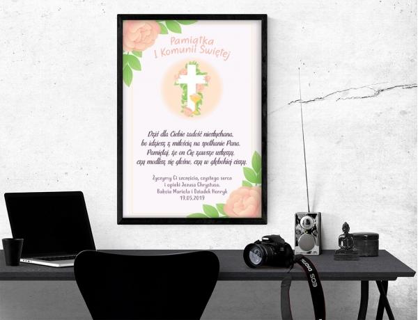 Plakat lub obraz na Pamiątkę I Komunii - Krzyż wśród liści i kwiatów