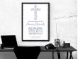 Plakat lub obraz na Pamiątkę I Komunii - Krzyż wśród pnączy kwiatów