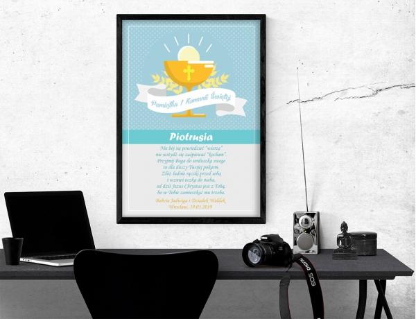 Plakat lub obraz na Pamiątkę I Komunii - Komunijny kielich