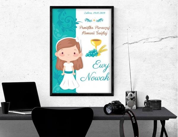 Plakat lub obraz na Pamiątkę I Komunii - Dziewczyna gotowa do Komunii