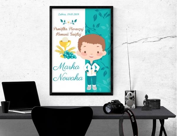 Plakat lub obraz na Pamiątkę I Komunii - Chłopiec gotowy do Komunii