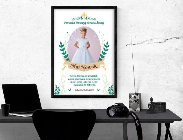 Plakat lub obraz na Pamiątkę I Komunii - Wśród gałązek oliwnych