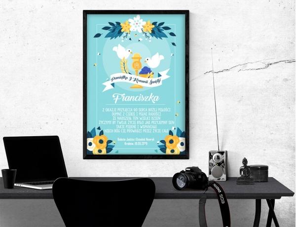 Plakat lub obraz na Pamiątkę I Komunii - Symbole sakramentu komunijnego
