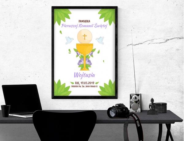 Plakat lub obraz na Pamiątkę I Komunii - Kielich i gołębie wśród zielonych liści