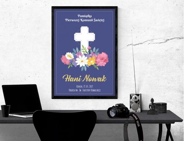 Plakat lub obraz na Pamiątkę I Komunii - Krzyż nad kwiatami