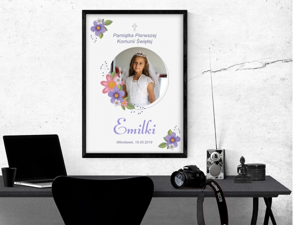 Plakat lub obraz na Pamiątkę I Komunii - Zdjęcie z elementami kwiatowymi