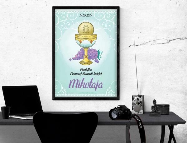 Plakat lub obraz na Pamiątkę I Komunii - Kielich i winogrono