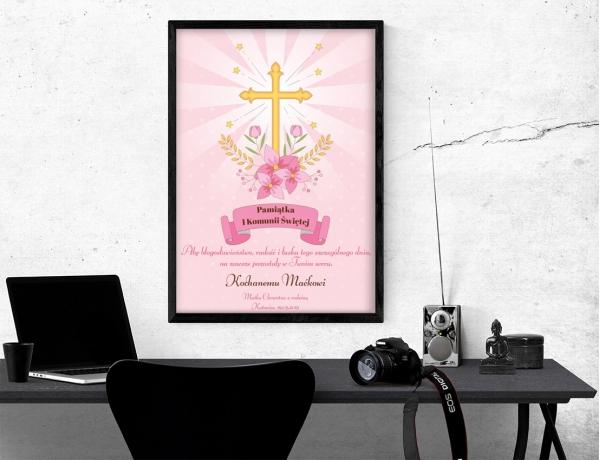 Plakat lub obraz na Pamiątkę I Komunii - Krzyż na tle różu
