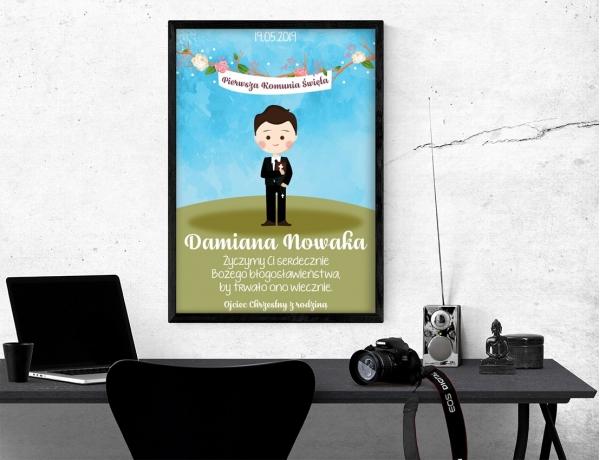 Plakat lub obraz na Pamiątkę I Komunii - Chłopiec z różańcem i Biblią