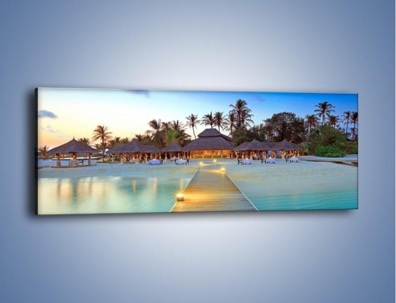 Obraz na płótnie – Romantyczna kolacja nad brzegiem morza – jednoczęściowy panoramiczny KN869
