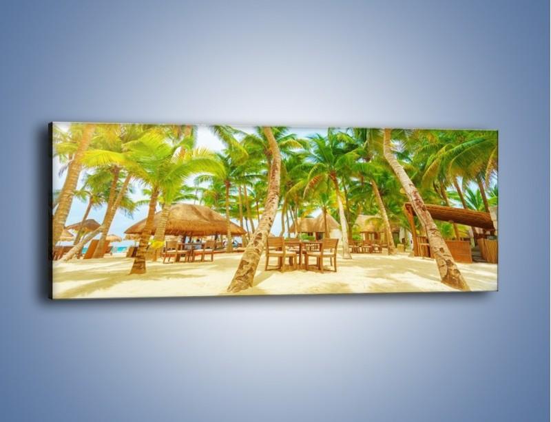 Obraz na płótnie – Słoneczna sjesta pod palmami – jednoczęściowy panoramiczny KN886