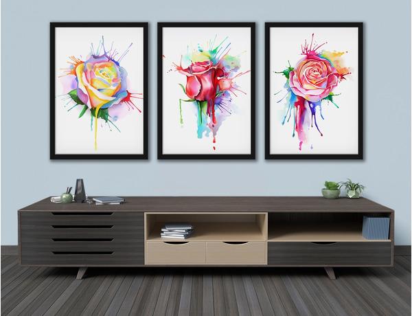 Róże malowane kolorowymi farbami
