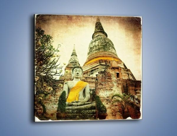 Obraz na płótnie – Tybetańska architektura w stylu vintage – jednoczęściowy kwadratowy AM247