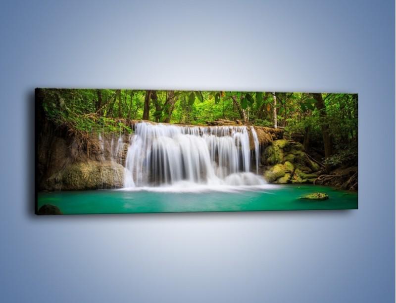 Obraz na płótnie – Kąpiel w środku lasu – jednoczęściowy panoramiczny KN995