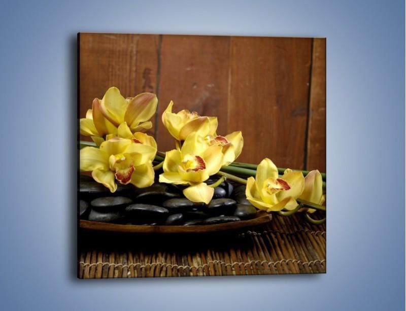 Obraz na płótnie – Kwiaty na drewnianym naczyniu – jednoczęściowy kwadratowy K575