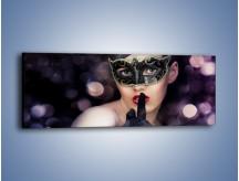 Obraz na płótnie – Dziewczyna w czarnej masce – jednoczęściowy panoramiczny L030