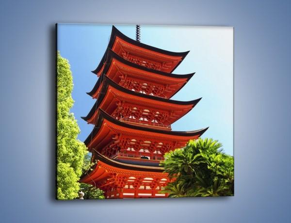Obraz na płótnie – Japońska architektura wśród drzew – jednoczęściowy kwadratowy AM252