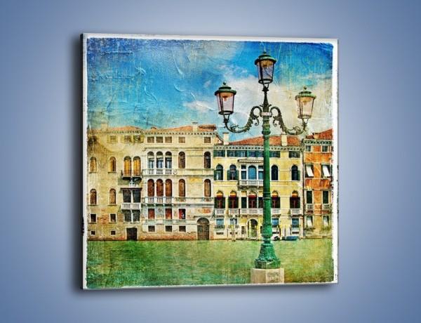Obraz na płótnie – Lampa na tle weneckich domków vintage – jednoczęściowy kwadratowy AM257
