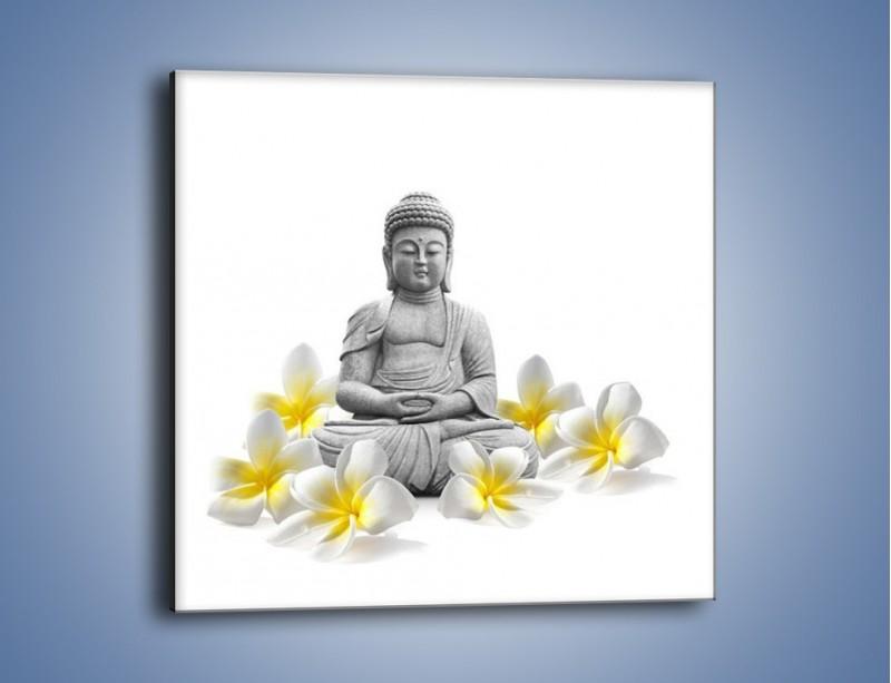 Obraz na płótnie – Budda w białych kwiatach – jednoczęściowy kwadratowy K599