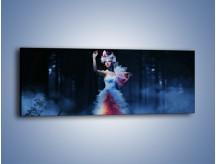 Obraz na płótnie – Biała księżniczka w ponurym lesie – jednoczęściowy panoramiczny L102