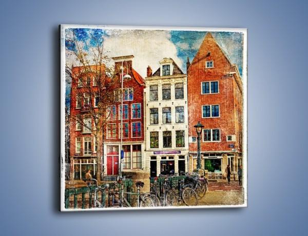 Obraz na płótnie – Amsterdam w stylu vintage – jednoczęściowy kwadratowy AM258