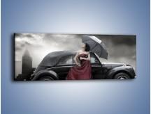 Obraz na płótnie – Dama pod parasolem – jednoczęściowy panoramiczny L139