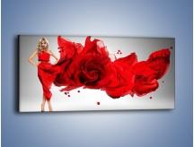 Obraz na płótnie – Czerwona róża i kobieta – jednoczęściowy panoramiczny L144