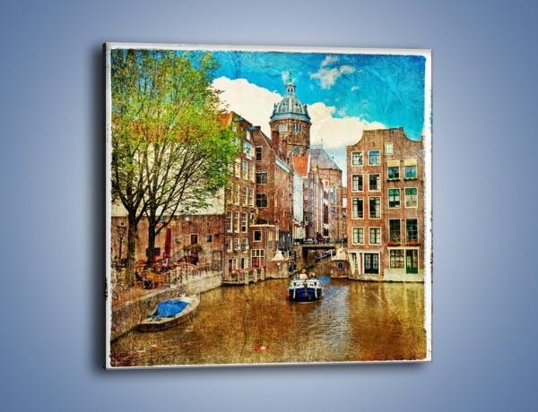 Obraz na płótnie – Kanał w Amsterdamie vintage – jednoczęściowy kwadratowy AM259