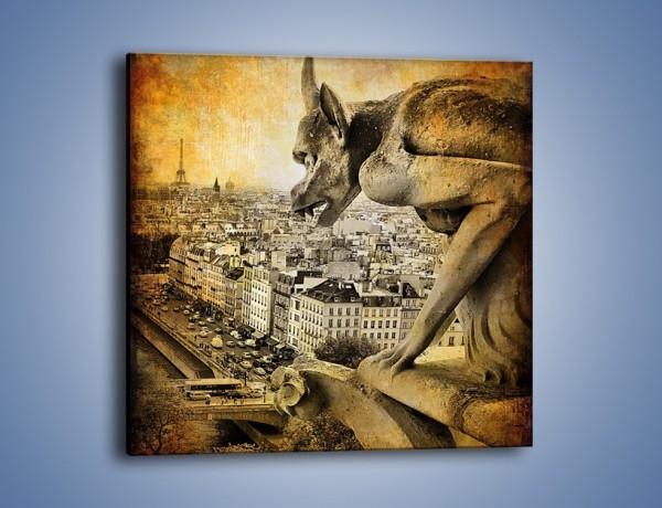 Obraz na płótnie – Paryski gargulec w stylu vintage – jednoczęściowy kwadratowy AM260