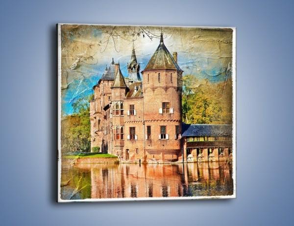 Obraz na płótnie – Zamek nad wodą w stylu vintage – jednoczęściowy kwadratowy AM262