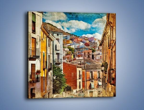 Obraz na płótnie – Kolorowe domki na wzgórzu vintage – jednoczęściowy kwadratowy AM264