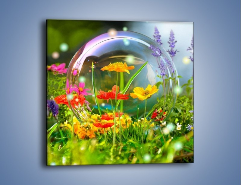 Obraz na płótnie – Bańkowy świat kwiatów – jednoczęściowy kwadratowy K691