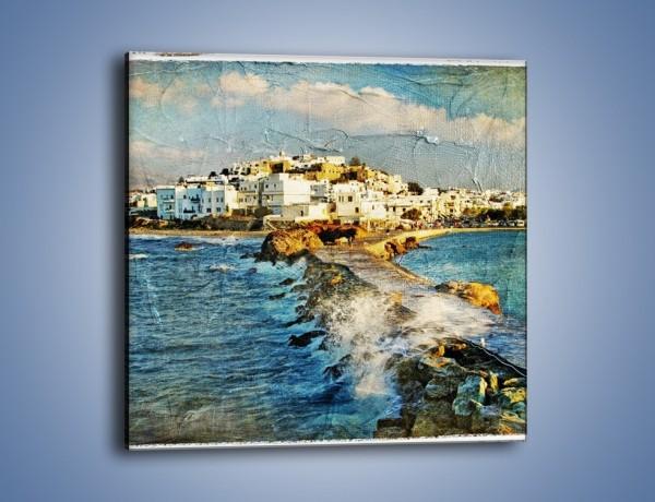 Obraz na płótnie – Grecka dróżka przez wodę vintage – jednoczęściowy kwadratowy AM268