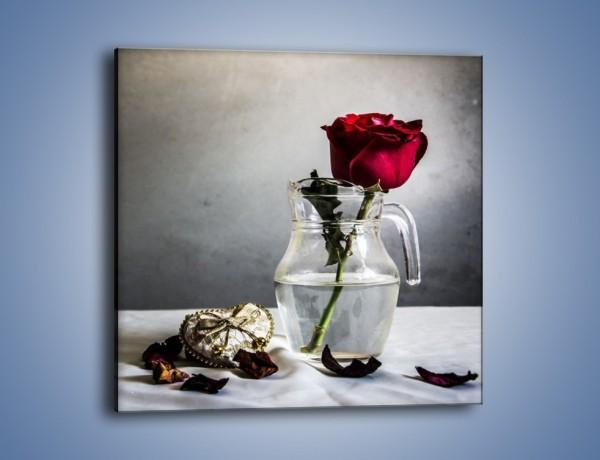 Obraz na płótnie – Złamane serce i róża – jednoczęściowy kwadratowy K742