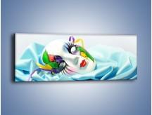 Obraz na płótnie – Kolorowa maska na błękicie – jednoczęściowy panoramiczny O180