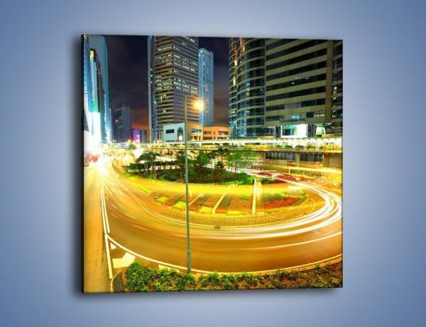 Obraz na płótnie – Światła samochodów w ruchu – jednoczęściowy kwadratowy AM280