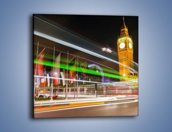 Obraz na płótnie – Światła samochodów na tle Big Bena – jednoczęściowy kwadratowy AM283