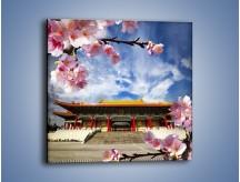 Obraz na płótnie – Azjatycka architektura z kwiatami – jednoczęściowy kwadratowy AM298