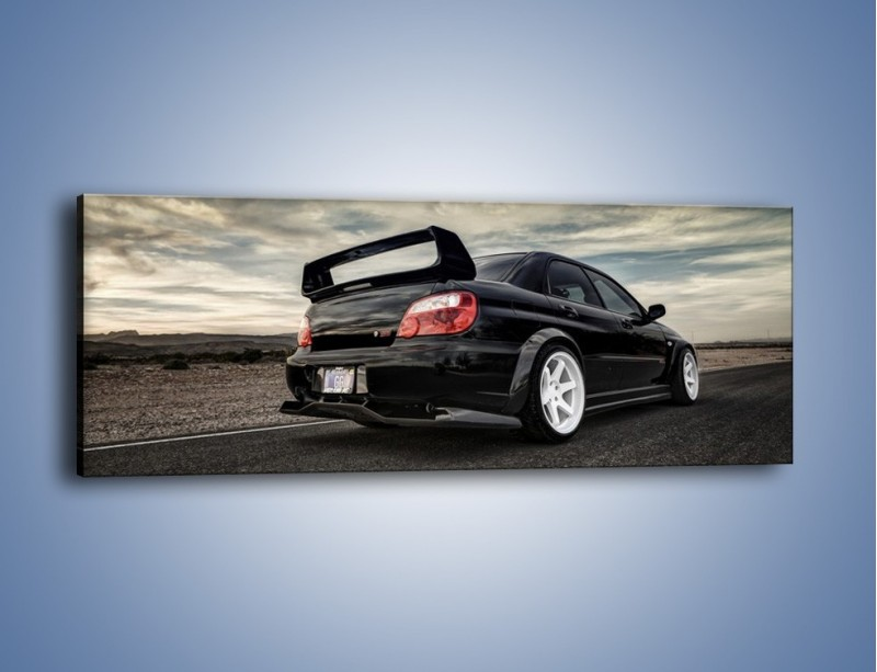Obraz na płótnie – Czarne Subaru Impreza WRX Sti – jednoczęściowy panoramiczny TM133