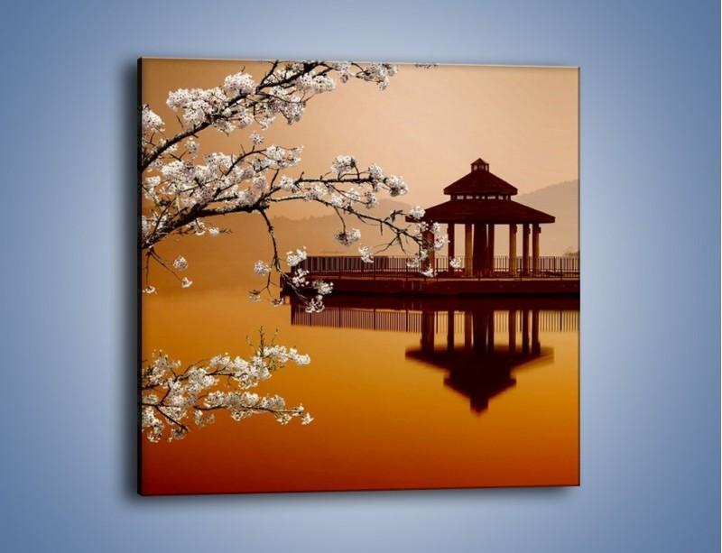 Obraz na płótnie – Kwiaty na tle Sun Moon Lake – jednoczęściowy kwadratowy AM301