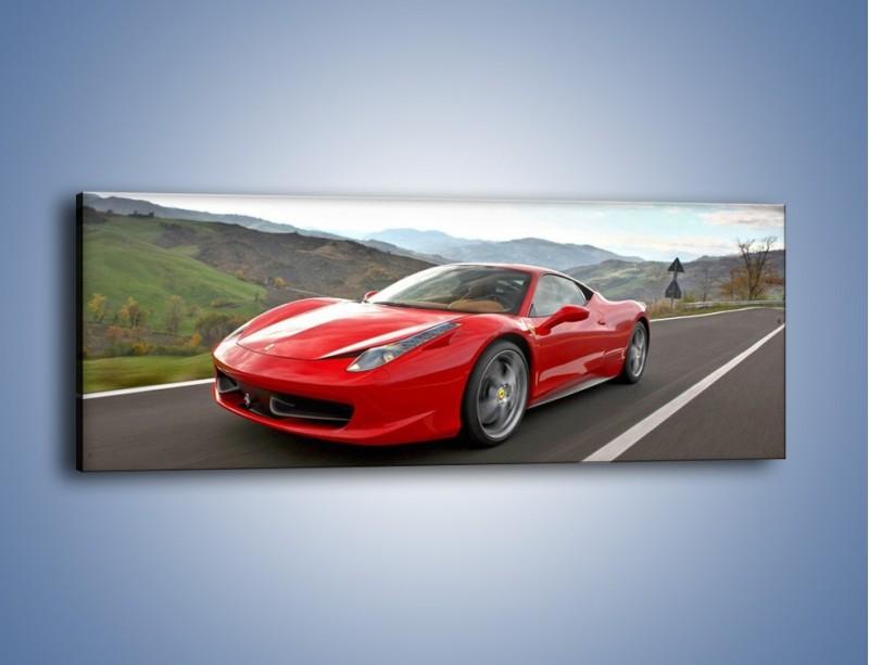 Obraz na płótnie – Czerwone Ferrari 458 Italia – jednoczęściowy panoramiczny TM194